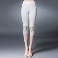 Wholesale XL XL new fashion large size women pants slim hollow pattern Elastic Plus size cropped pants