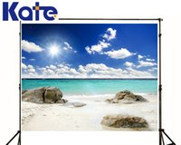 Wholesale 3 ft Printed Photography Background Stone and Clouds Sea Beach Backdrop Photos for studio digital vinyl S
