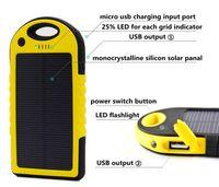 Wholesale 5000mAh dual usb solar power bank portable powerbank waterproof battery power charger solar panel for iPhone plus iPad mobile phone