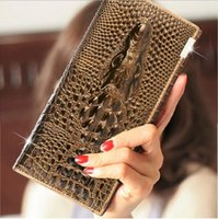 Plain american alligator wallet - Handbags Ms Genuine Leather Long sectional Leather trifold wallet Crocodile Multi card Wallets Top grade Purse Clutch Multicolor may choose