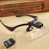 Wholesale 5 Lens X Glasses Type Watch Repair Magnifier Hands Free head LED Light for Reading