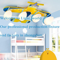 airplane light fixture - Cute Yellow Airplane Baby Room Ceiling Lamp Cartoon Wooden Boy s Room Ceiling Lights Child Bedroom Ceiling Fixtures