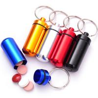 Wholesale 200pcs Waterproof Aluminum Pill Box Case Bottle Cache Pill Holder Keychain Container