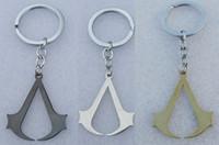 assassin pendant - 12pcs Fashion Movie Anime Cosplay Assassins Creed Deiss Stainless Steel Pendant Keyring Men Keychain Jewelry