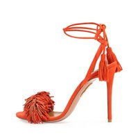 ankle strappy sandals - Genuine leather Brand AQUAZZURA Tassel Fringe Suede Women Sandals Lace Up Ankle Strappy High Heels Wedding Shoes Woman Sandal