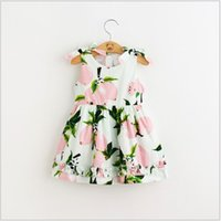 Cheap 2016 New Summer Style Children Hot Sale Cute Dress Lovely Kids Sleeveless Dress Charming Shoulder Bow Dress Fashion Fruit Patterns Dress