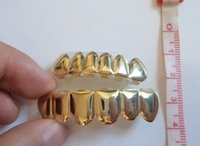Wholesale Grillz REAL GOLD PLATED HIPHOP TEETH GRILLZ TOP amp BOTTOM GRILL SET
