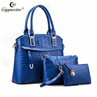 artwork of animals - Cappuccino PU leather women handbag One payment for the three different sizes of bags