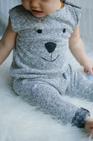 bear jumper - 0 M Toddler bear Rompers Cute Girl Boy Bear print Jumpers autumn winter Playsuit infant gray animal pattern Clothes