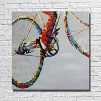 bicycle picture frames - Wall Design Abstract Pictures on Canvas Home Decor Sitting Room Wall Pictures Modern Bicycle Oil Painting Peices No framed