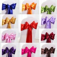 Wholesale High Quality Wedding Satin Ribbon Chair Cover Sashes Party Banquet Decor Bow Multi Color Hot Sale Wedding Chair Sashes