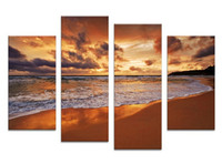 beach decor ideas - 4PCS beach sundown the best selling Wall painting print on canvas for home decor ideas paints on wall pictures art