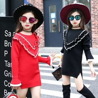 b colleges - 2016 Children Girls Autumn Long Sleeve Dress Fashion Kids Girls Knitted Dress College Style Good Quality Dresses B