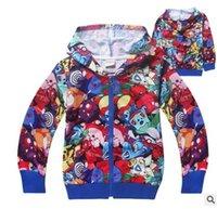 Wholesale Poke Baby Girls Coat New Stripe Cartoon Children jacket Fashion long sleeve hoodie Autumn Kids Outwear N036