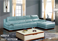 Wholesale GENIUINE LEATHER SOFA BLUE FASION MODERM LUXURY STYLE LIVING ROOM SIMPLE FURNITURE GOOD QUALITY R AC801