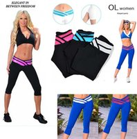 Wholesale Sexy Sporty Girls - New 2016 Hot Fashion sexy Sporty Legging Women Lady Girl Sport 3 4 pants High Elastic Stretch Fitness Leggings 2722