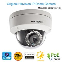 Wholesale Hikvision DS CD2135F IS POE IP Dome Camera MP HD1080P Audio Alarm SD Slot Sopport H Security Camera Outdoor