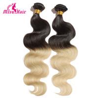Cheap Body Wave Virgin Hair Ombre Two Tone Color 1B 613 Human Hair Weaves Wavy Brazilian Peruvian Malaysian Human Hair
