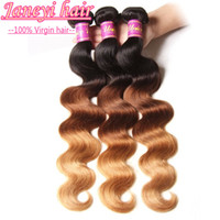 Wholesale 3 Piece A Grade ombre Human Hair body wave Brazilian Peruvian Malaysian Human Hair Weave Three color B Ombre Hair Extensions