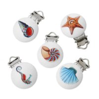 Wholesale 2x5PCs Mixed Baby Pacifier Clips Holder Clasps Soother Pattern Printed White Wood Metal Holders wooden toys year old