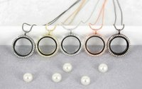 Wholesale Beautiful Colors Floating Locket Pendant Necklace women Magnetic Living Memory Glass Floating Charm Locket With bead Chains DIY necklaces
