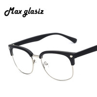 al por mayor oculos empollón-Al por mayor-Nueva manera del empollón de la lente clara semi envío de las mujeres / de los hombres Gafas de Sol Gafas muchachas libres 2016 borde metálico de la marca gafas de sol de diseñador