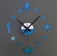 Wholesale Marine Mediterranean octopus crab starfish hippocampus creative wall clock watches mute when DIY Fun