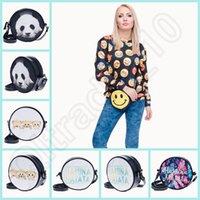 Wholesale 10PCS LJJH1320 Fashion PU emoji Galaxy Printing Round Bag Outdoor mini shoulder bag Cross body Purse Handbag
