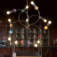 american engineering - American modern industrial loft style lighting engineering Iron Cafe Hot Wheels creative snooker billiards room chandelier