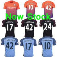 Wholesale Free ship TOP best thailand Manchester City Jersey Home away third Rugby Jerseys KUN AGUERO STERLING DE BRUYNE NOLITO NASR