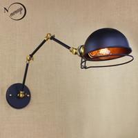 antique glass sconces - classical design antique black retro adjust head swing arm wall lamps lights sconce for workroom bedside bedroom wall Lights