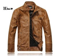 Wholesale New hot sale PU Leather Jacket Men Long Wool Leather Standing Collar Jackets Coat Men Leather Jackets With Outdoor Trench Parka clothes