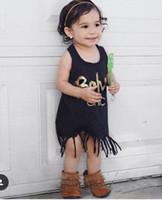 Wholesale INS New Summer Baby Girl Cotton Golden Letter Design T shirts Children Sleeveless Black Tassels Dress Toddlers Infant Long Tops Tees Dress
