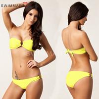 Haute couture modèles bikini Avis-2016 mode nouveaux modèles femmes bikinis mode or U anneaux boob tube top sexy maillot de bain 4 couleurs de haute qualité triangle bikini DHL gratuit