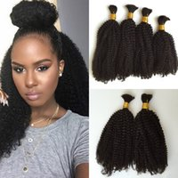 virgin hair bulk - 100 Mongolian Natural No Attachment Bulk Hair Wavy hair bulk g Natural Color inch Kinky Curly Hair