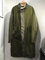 Wholesale 2017 Kanye West fear of god Army Green Coats Long Style Zippered Sleeve Fleece Linning Windbreaker
