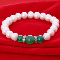 aa strand - Nice pearl jewelry AA MM White Genuine freshwater pearl green agate mother gift bracelets