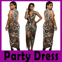 Wholesale Summer Hot Sell Nightclub Sexy V neck Low cut Slim Leopard Dress Elegant Full Dress Honorable Party Dress