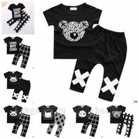 american raccoon - Baby Ins Clothing Sets Ins Fashion Outfits Stripe Plaid Suits Letter Print Tops Pants Cotton Raccoon Shirts Trousers Pajamas Sleepwear B1237