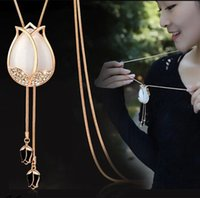 asian funds - X New Product Tulips Necklace Long Fund Sweater Chain A Cat s eye Necklace Woman Korean Fashion Clothes Accessories