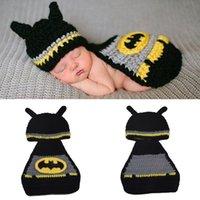 beani babies - Cosplay Batman design newborn photography props crochet baby suit baby bonnet newborn crochet outfits infant knit beani