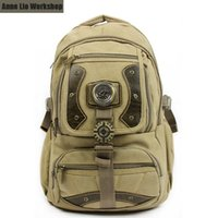 Wholesale Cool men s thick washed cotton canvas backpack durable leisure sports laptop bag hiking outdoor travel school bags LB