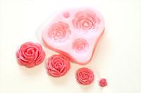 Wholesale 4 Size Roses Flower Silicone Mould Sugarcraft Cake Decorating Fondant Fimo H210371