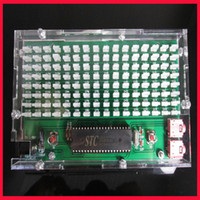 Wholesale single chip music spectrum display LED level indicator model DIY Kit with case spectrum level indicating thermometers