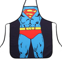Wholesale 2016 Hot Sale Superman Cartoon Funny Novelty Sleeveless Apron Kitchen Cooking Home BBQ Dinner Party Apron