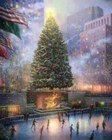 america skate - Scenic America skating rink Christmas Tree Pure Hand painted Landscape Art oil painting in any size customized