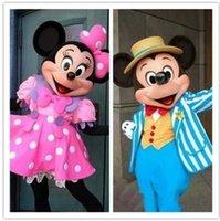 Acheter Adult mascot costume-Mascottes Mickey Mouse poupée de bande dessinée vêtements costume d'Halloween mickey Minnie marche adulte poupée de dessin animé dessin animé de mascotte