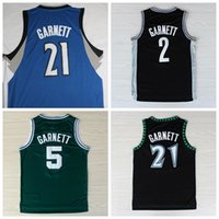 cotton polyester shirts - New Men Kevin Garnett Jersey Fashion Rev Throwback Kevin Garnett Shirt Uniform Home Black Blue White Green Pure Cotton Breathable