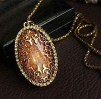 amber sweaters - Vintage Amber Hollow Long chain Sweater Pendant Necklace Fashion Jewelry Classic H210956
