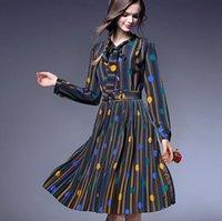 al por mayor línea vestido de lunares larga-2016 primavera verano de la manera del collar de las mujeres del vestido del arco del lunar colorido a rayas de manga larga de impresión A-Line Vestido casual de oficina